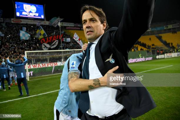 Head coach Simone Inzaghi of SS Lazio celebrates after the Serie A match between Parma Calcio and SS Lazio at Stadio Ennio Tardini on February 09...
