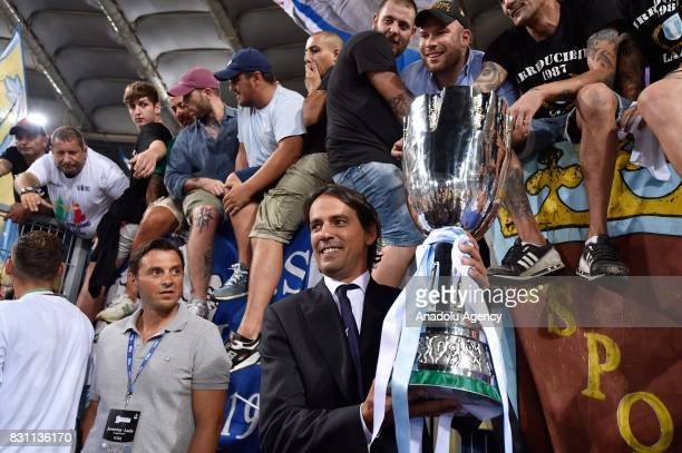 Head Coach Simone Inzaghi of SS Lazio celebrates the victory after the Italian Super Cup soccer match between FC Juventus and SS Lazio at Stadio...