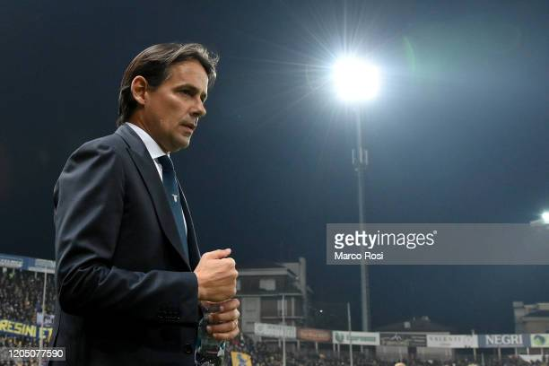 Head coach Simone Inzaghi of SS Lazio during the Serie A match between Parma Calcio and SS Lazio at Stadio Ennio Tardini on February 09 2020 in Parma...