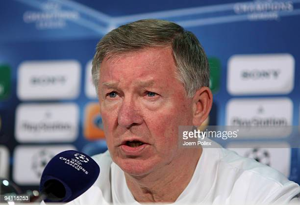 Head coach Sir Alex Ferguson of Manchester United attends a press conference at the Volkswagen Arena on December 7, 2009 in Wolfsburg, Germany....