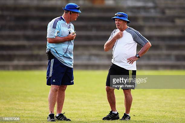 Head coach Sir John Kirwan and Technical Advisor Sir Graham Henry discuss options during an Auckland Blues Super Rugby training session at Unitec on...