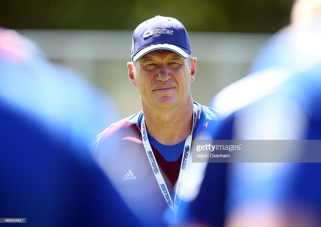 Head coach Sir John Kirwan during a Blues Super Rugby training session at Unitec on January 28, 2014 in Auckland, New Zealand.