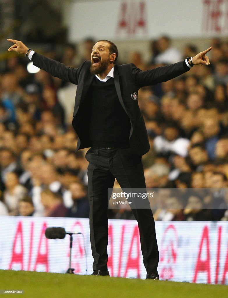 Head Coach Slaven Bilic of Besiktas reacts during the UEFA Europa League Group C match between Tottenham Hotspur FC and Besiktas JK at White Hart Lane on October 2, 2014 in London, United Kingdom.