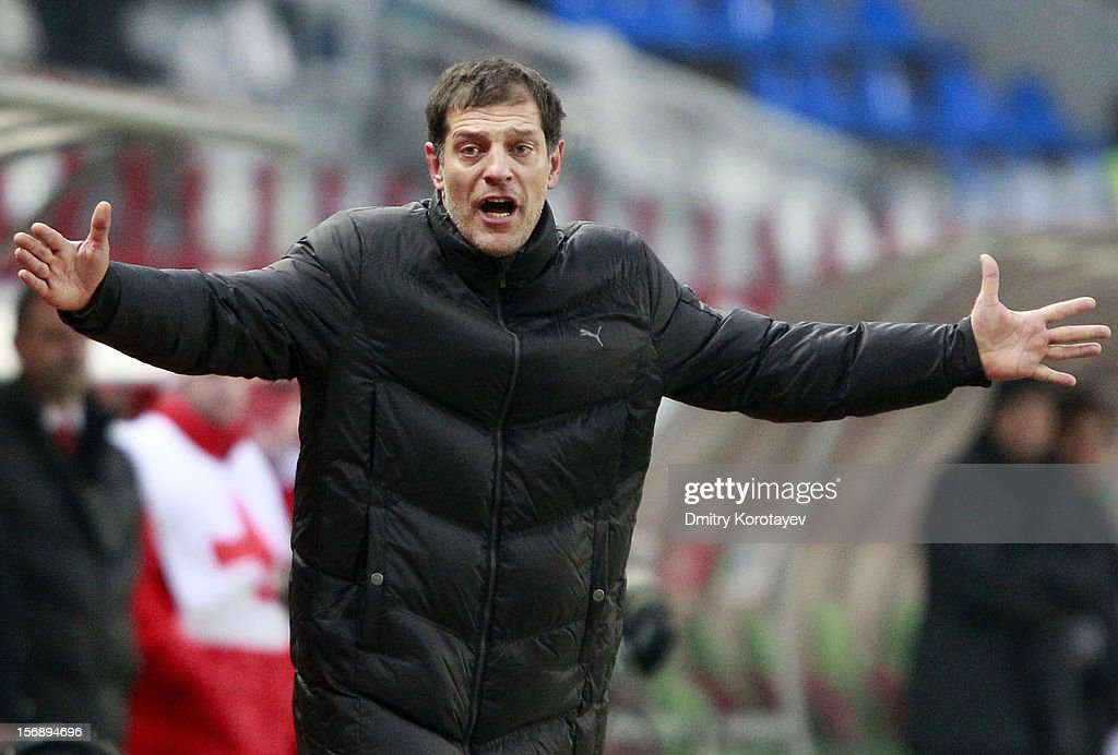 Head coach Slaven Bilic of FC Lokomotiv Moscow gestures during the Russian Premier League match between FC Lokomotiv Moscow and FC Krasnodar at the Lokomotiv Stadium on November 24, 2012 in Moscow, Russia.