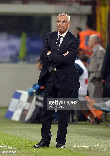 Head coach SS Lazio Edi Reja looks on during the Serie A match between FC Internazionale Milano and SS Lazio at San Siro Stadium on May 10 2014 in...