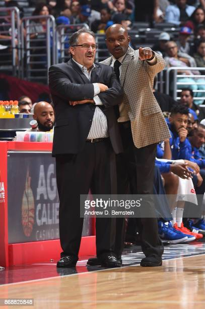Head coach Stan Van Gundy and assistant coach Tim Hardaway of the Detroit Pistons are seen during the game against the LA Clippers on October 28 2017...