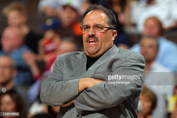 Head coach Stan Van Gundy leads the Orlando Magic against the Denver Nuggets at Pepsi Center on April 22 2012 in Denver Colorado The Nuggets defeated...