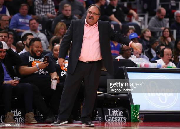 Head coach Stan Van Gundy looks on while playing the Toronto Raptors at Little Caesars Arena on April 9 2018 in Detroit Michigan Toronto won the game...