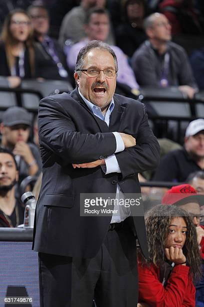 Head coach Stan Van Gundy of the Detroit Pistons coaches against the Sacramento Kings on January 10 2017 at Golden 1 Center in Sacramento California...