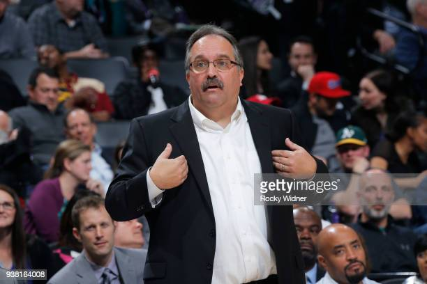 Head coach Stan Van Gundy of the Detroit Pistons coaches against the Sacramento Kings on March 19 2018 at Golden 1 Center in Sacramento California...