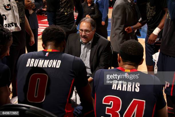 Head Coach Stan Van Gundy of the Detroit Pistons coaches during the game against the Boston Celtics on February 26 2017 at The Palace of Auburn Hills...