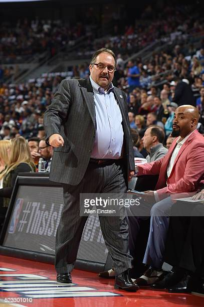 Head coach Stan Van Gundy of the Detroit Pistons during Game Three of the Eastern Conference Quarterfinals during the 2016 NBA Playoffs against the...