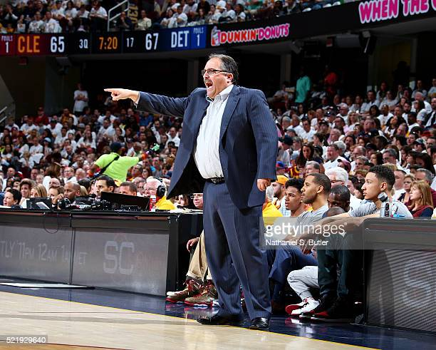 Head coach Stan Van Gundy of the Detroit Pistons during the Round One of the 2015 NBA Playoffs against the Cleveland Cavaliers on April 17 2016 at...