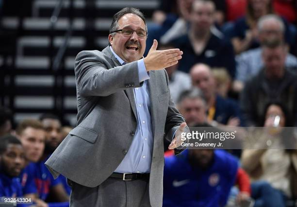 Head coach Stan Van Gundy of the Detroit Pistons gestures on the sideline in a game against the Utah Jazz at Vivint Smart Home Arena on March 13 2018...