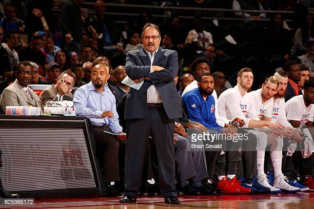 Head Coach Stan Van Gundy of the Detroit Pistons is seen against the Miami Heat on November 23 2016 at The Palace of Auburn Hills in Auburn Hills...