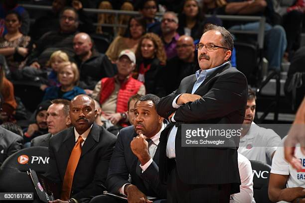 Head Coach Stan Van Gundy of the Detroit Pistons is seen during the game against the Indiana Pacers on December 17 2016 at The Palace of Auburn Hills...