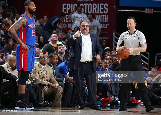 Head Coach Stan Van Gundy of the Detroit Pistons looks on against the Cleveland Cavaliers in Game Two of the Eastern Conference Quarterfinals during...
