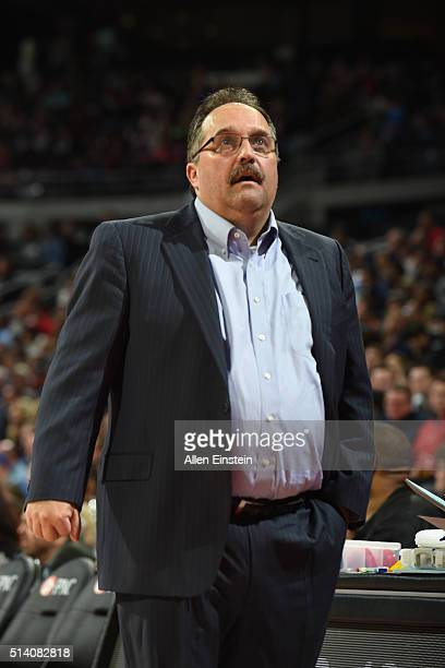Head coach Stan Van Gundy of the Detroit Pistons looks on during the game against the Portland Trail Blazers on March 6 2016 at The Palace of Auburn...