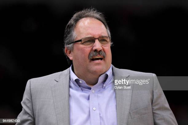 Head coach Stan Van Gundy of the Detroit Pistons looks on in the second quarter against the Chicago Bulls at the United Center on April 11 2018 in...