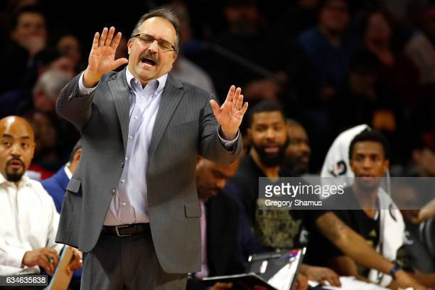 Head coach Stan Van Gundy of the Detroit Pistons reacts from the bench while playing the San Antonio Spurs at the Palace of Auburn Hills on February...