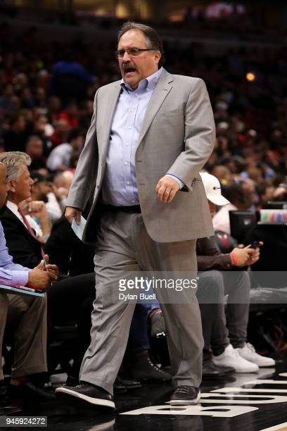 Head coach Stan Van Gundy of the Detroit Pistons reacts in the first quarter against the Chicago Bulls at the United Center on April 11 2018 in...