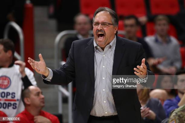 Head coach Stan Van Gundy of the Detroit Pistons reacts on the bench while playing the Atlanta Hawks at Little Caesars Arena on November 10 2017 in...