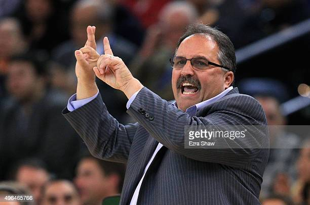Head coach Stan Van Gundy of the Detroit Pistons singles to his team during their game against the Golden State Warriors at ORACLE Arena on November...