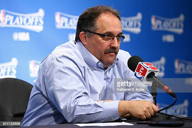 Head Coach Stan Van Gundy of the Detroit Pistons speaks at a press conference after Game Four of the Eastern Conference Quarterfinals against the...