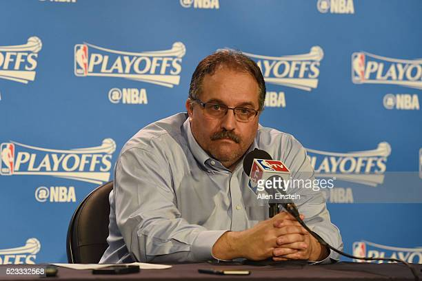 Head coach Stan Van Gundy of the Detroit Pistons speaks with press after the game against the Cleveland Cavaliers during Game Three of the Eastern...