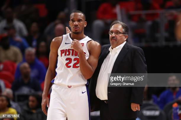 Head coach Stan Van Gundy of the Detroit Pistons talks to Avery Bradley during action against the Indiana Pacers at Little Caesars Arena on November...