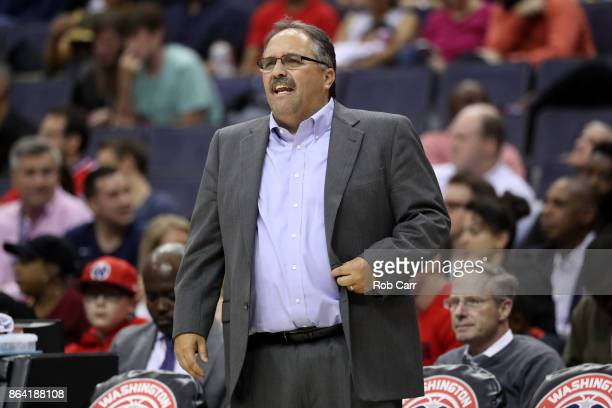 Head coach Stan Van Gundy of the Detroit Pistons watches from the bench against the Washington Wizards at Capital One Arena on October 20 2017 in...