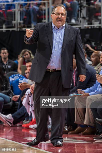 Head coach Stan Van Gundy of the Detroit Pistons watches the play from the sidelines against the Charlotte Hornets during the Inaugural NBA game at...