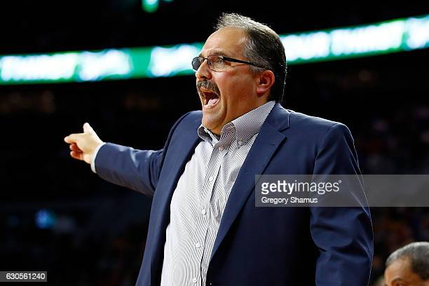 Head coach Stan Van Gundy of the Detroit Pistons yells from the bench while playing the Cleveland Cavaliers at the Palace of Auburn Hills on December...
