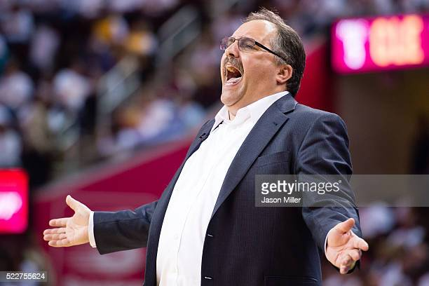 Head coach Stan Van Gundy of the Detroit Pistons yells to his players during the second half of the NBA Eastern Conference quarterfinals against the...