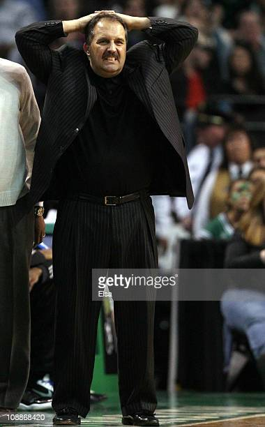 Head coach Stan Van Gundy of the Orlando Magic reacts as his team sets up a play in the fourth quarter against the Boston Celtics on February 6 2011...