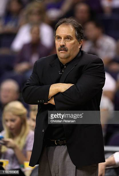Head coach Stan Van Gundy of the Orlando Magic reacts during the NBA game against the Phoenix Suns at US Airways Center on March 13 2011 in Phoenix...