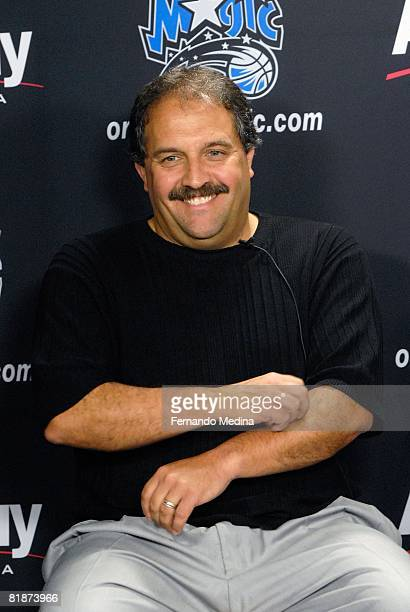 Head coach Stan Van Gundy of the Orlando Magic smiles during the press conference for 2008 NBA first round draft pick Courtney Lee of the Orlando...