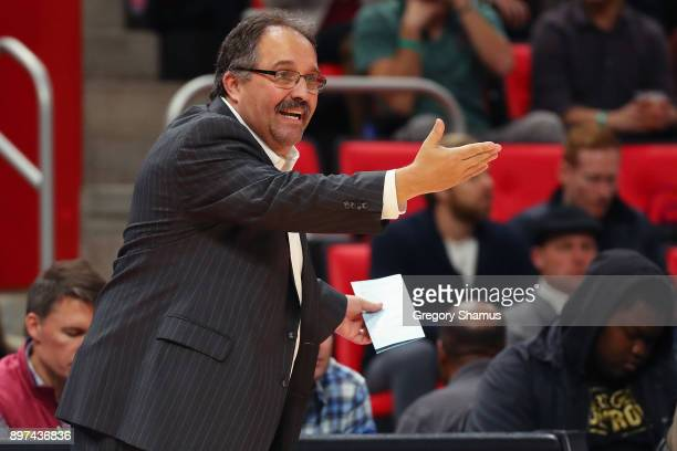 Head coach Stan Van Gundy reacts from the bench during the second half while playing the New York Knicks at Little Caesars Arena on December 22 2017...