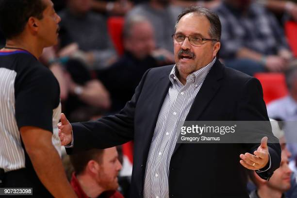 Head coach Stan Van Gundy reacts to a call while playing the Washington Wizards at Little Caesars Arena on January 19 2018 in Detroit Michigan...