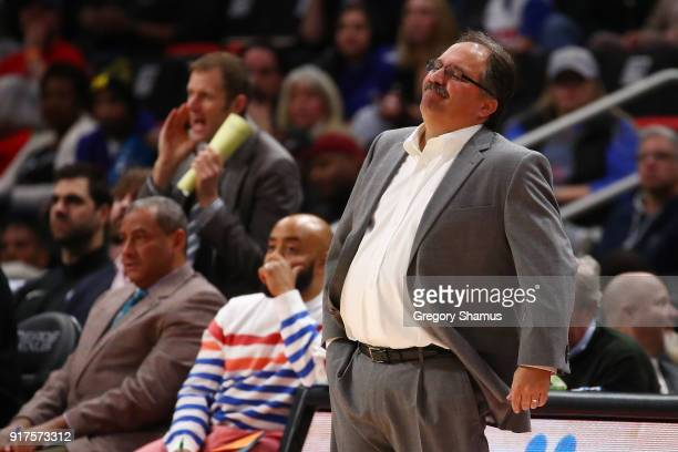 Head coach Stan Van Gundy reacts while playing the New Orleans Pelicans at Little Caesars Arena on February 12 2018 in Detroit Michigan NOTE TO USER...