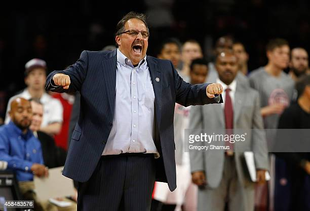 Head coach Stan Van Gundy yells from the sideline while playing the New York Knicks at the Palace of Auburn Hills on November 5 2014 in Auburn Hills...