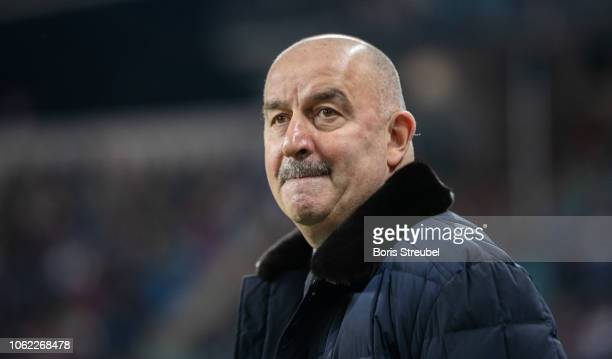 Head coach Stanislav Cherchesov of Russia looks on prior to the International Friendly match between Germany and Russia at Red Bull Arena on November...