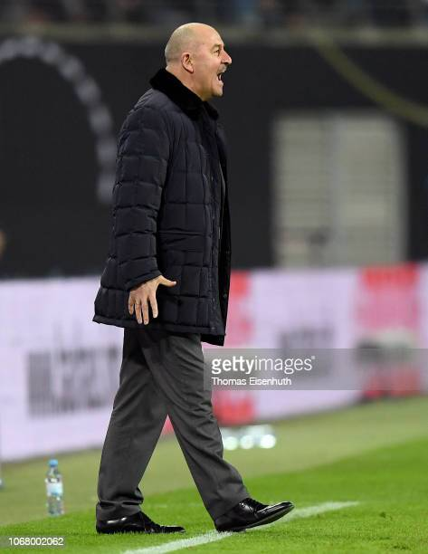 Head coach Stanislav Cherchesov of Russia reacts during the International Friendly match between Germany and Russia at Red Bull Arena on November 15...