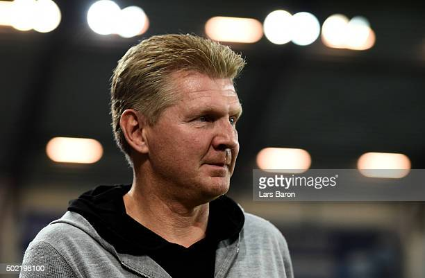 Head coach Stefan Effenberg of Paderborn is seen during the Second Bundesliga match between SC Paderborn and Fortuna Duesseldorf at Benteler Arena on...