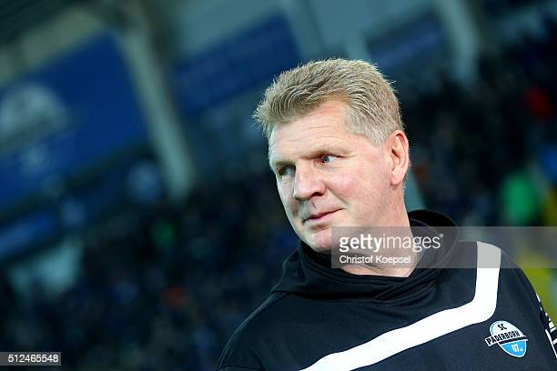 Head coach Stefan Effenberg of Paderborn looks on prior to the 2 Bundesliga match between SC Paderborn and RB Leipzig at Benteler Arena on February...