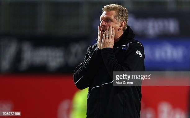 Head coach Stefan Effenberg of Paderborn looks on prior to the Second Bundesliga match between SV Sandhausen and SC Paderborn at Hardtwaldstadion on...