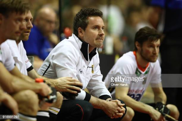 Head coach Stefan Kermas of Germany gestures during the Mens Gold Medal Indoor Hockey World Cup Berlin Final Day match between Germany and Austria on...