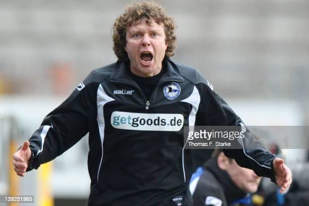 Head coach Stefan Kraemer of Bielefeld reacts during the Third League match between Arminia Bielefeld and Jahn Regensburg at the Schueco Arena on...