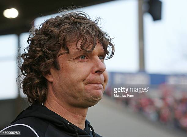 Head coach Stefan Kraemer of Cottbus looks on prior to the third league match between FC Energie Cottbus and VFL Osnabrueck at Stadion der...