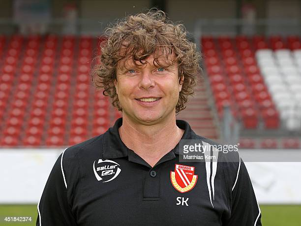 Head coach Stefan Kraemer poses during the FC Energie Cottbus team presentation at Stadion der Freundschaft on July 8 2014 in Cottbus Germany